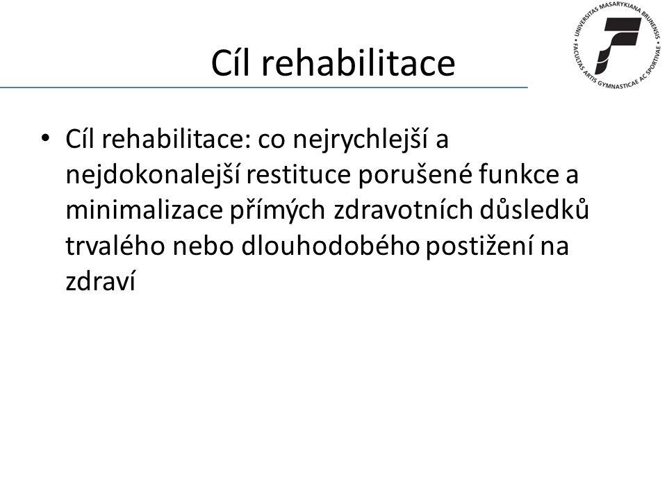 Cíl rehabilitace Cíl rehabilitace: co nejrychlejší a nejdokonalejší restituce porušené funkce a minimalizace přímých zdravotních důsledků trvalého neb