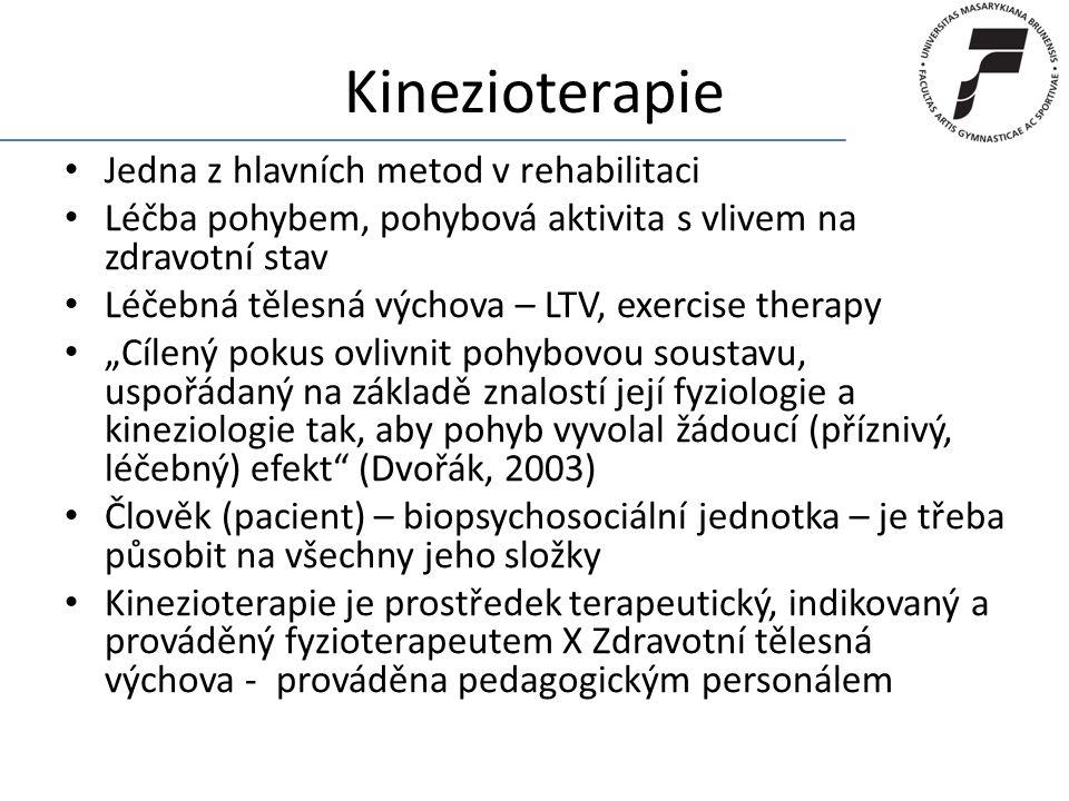 Kinezioterapie Jedna z hlavních metod v rehabilitaci Léčba pohybem, pohybová aktivita s vlivem na zdravotní stav Léčebná tělesná výchova – LTV, exerci