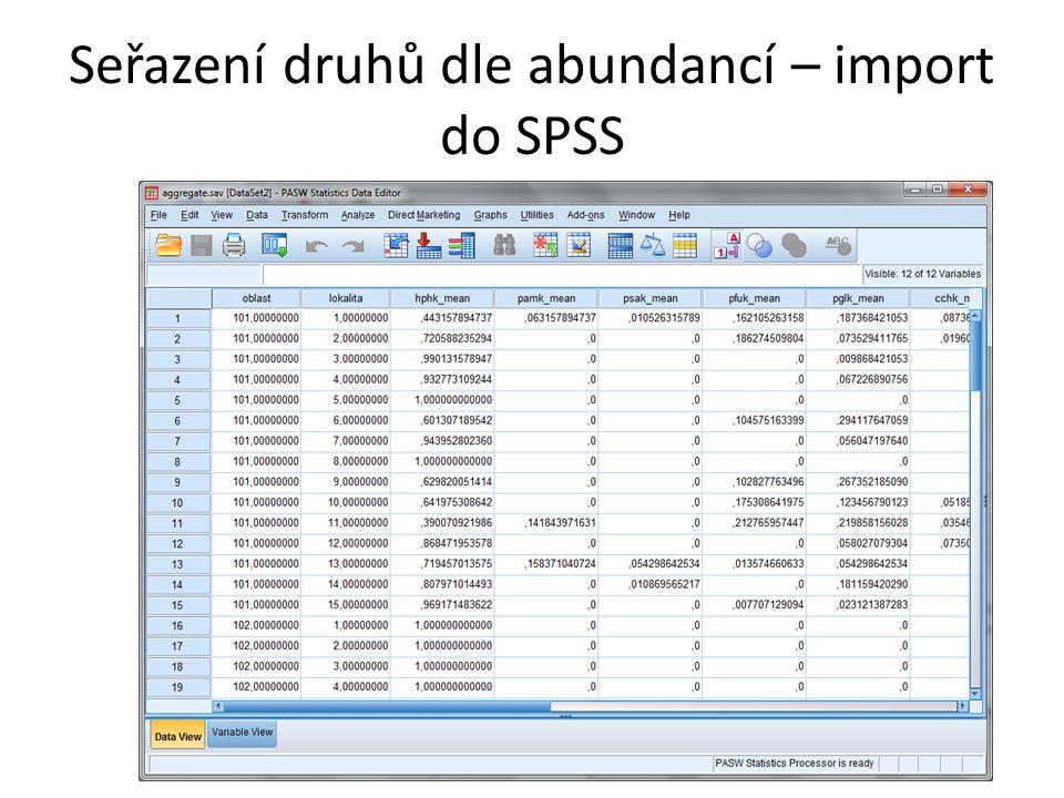 Seřazení druhů dle abundancí – import do SPSS