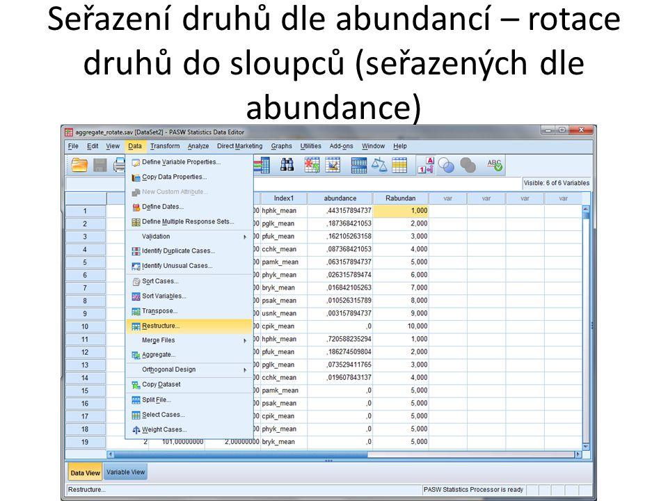 Seřazení druhů dle abundancí – rotace druhů do sloupců (seřazených dle abundance)