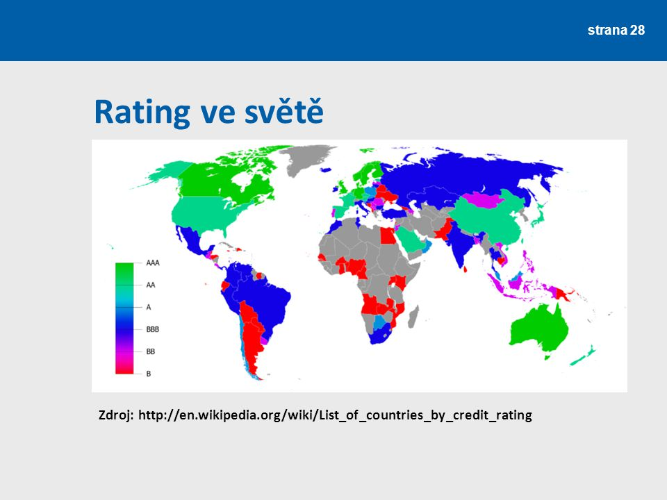 strana 28 Rating ve světě Zdroj: http://en.wikipedia.org/wiki/List_of_countries_by_credit_rating