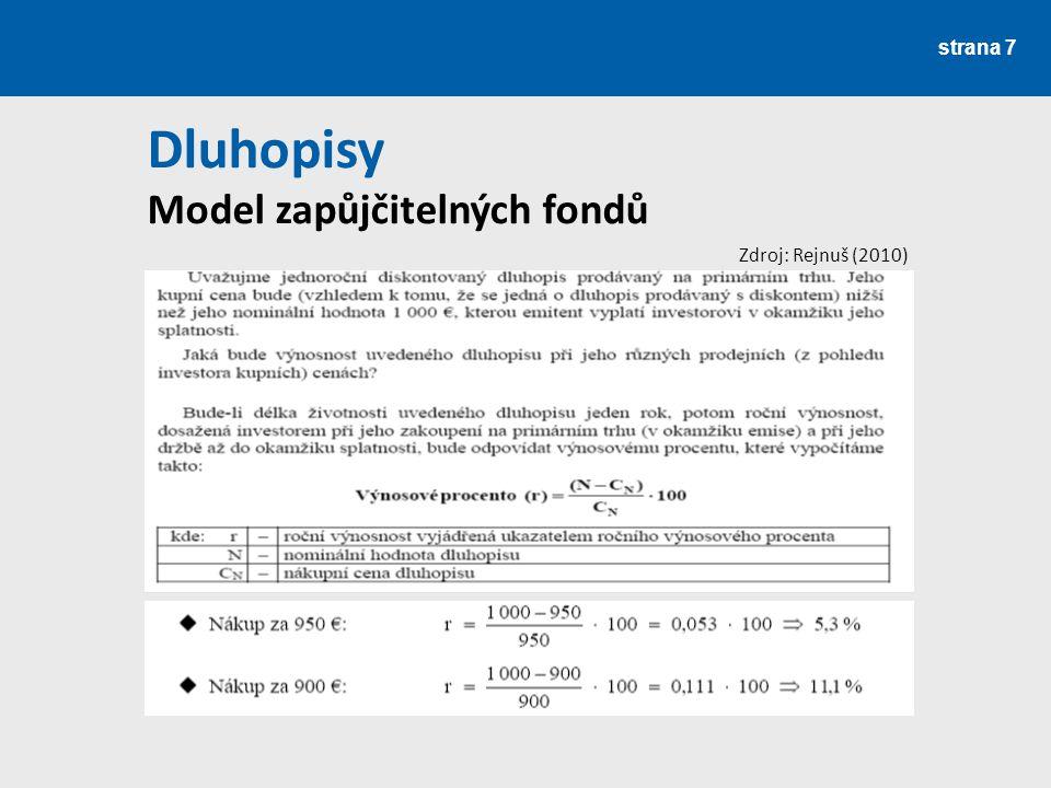 strana 7 Dluhopisy Model zapůjčitelných fondů Zdroj: Rejnuš (2010)