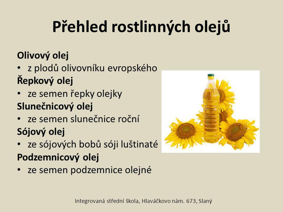 Přehled rostlinných olejů Olivový olej z plodů olivovníku evropského Řepkový olej ze semen řepky olejky Slunečnicový olej ze semen slunečnice roční Só