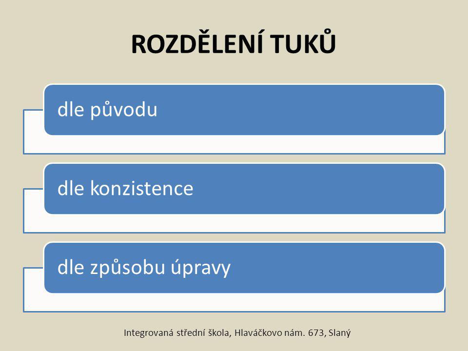 Rozdělení tuků dle původu Rostlinné olejeTuhé rostlinné olejeŽivočišné tuky Integrovaná střední škola, Hlaváčkovo nám.