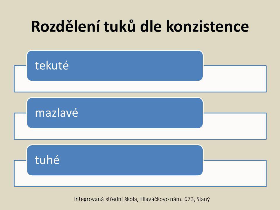 Rozdělení tuků dle konzistence tekutémazlavétuhé Integrovaná střední škola, Hlaváčkovo nám. 673, Slaný