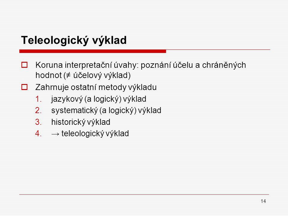14 Teleologický výklad  Koruna interpretační úvahy: poznání účelu a chráněných hodnot (≠ účelový výklad)  Zahrnuje ostatní metody výkladu 1.jazykový
