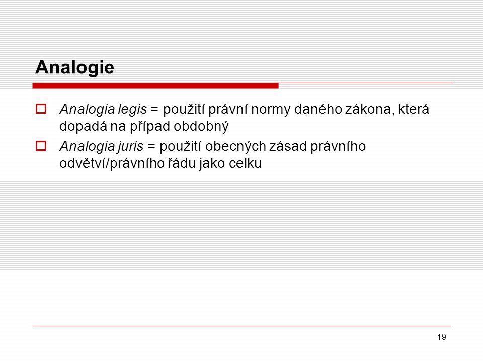 19 Analogie  Analogia legis = použití právní normy daného zákona, která dopadá na případ obdobný  Analogia juris = použití obecných zásad právního o