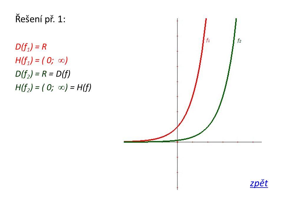 Řešení př. 1: D(f 1 ) = R H(f 1 ) = ( 0; ∞ ) D(f 2 ) = R = D(f) H(f 2 ) = ( 0; ∞ ) = H(f) zpět