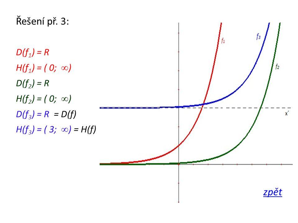 Řešení př. 3: D(f 1 ) = R H(f 1 ) = ( 0; ∞ ) D(f 2 ) = R H(f 2 ) = ( 0; ∞ ) D(f 3 ) = R = D(f) H(f 3 ) = ( 3; ∞ ) = H(f) zpět