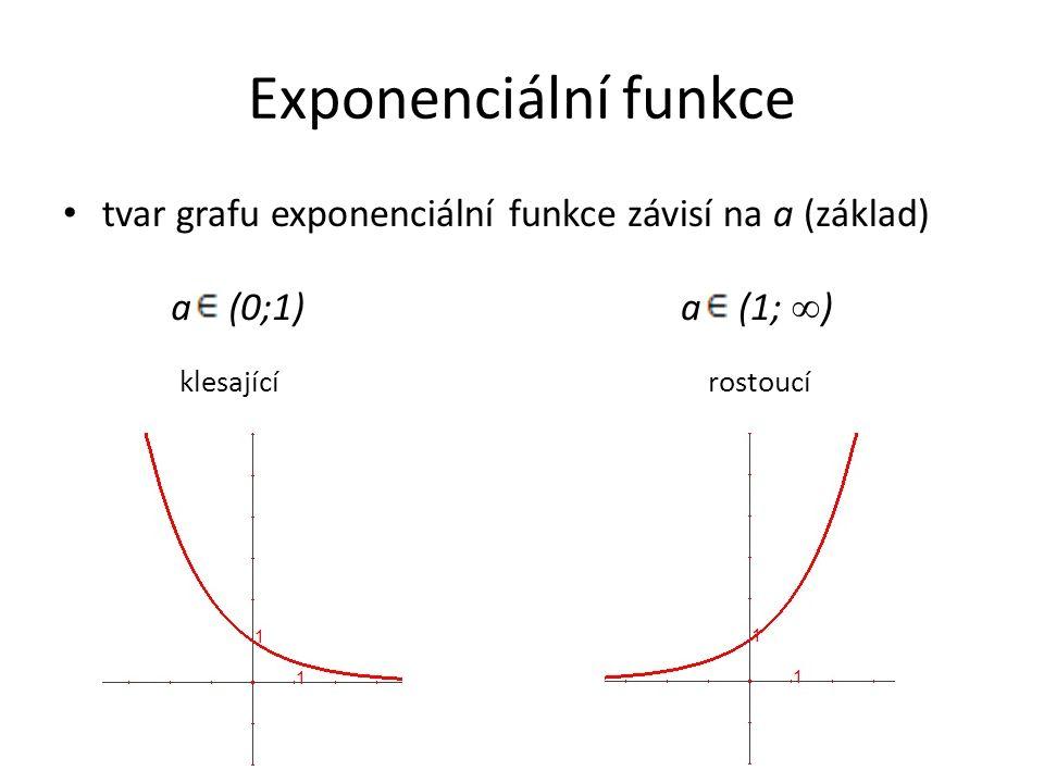 Exponenciální funkce tvar grafu exponenciální funkce závisí na a (základ) klesající rostoucí a (0;1)a (1; ∞ )