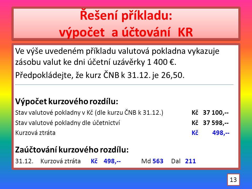 Řešení příkladu: výpočet a účtování KR Ve výše uvedeném příkladu valutová pokladna vykazuje zásobu valut ke dni účetní uzávěrky 1 400 €.
