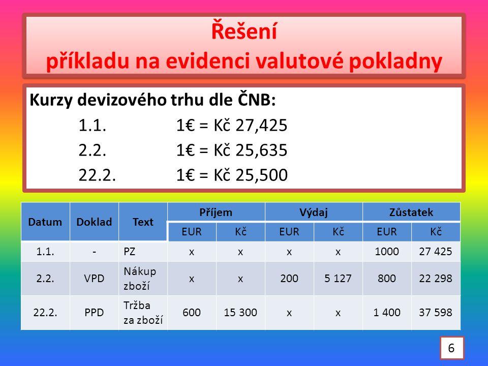 Řešení příkladu na evidenci valutové pokladny DatumDokladText PříjemVýdajZůstatek EURKčEURKčEURKč 1.1.-PZxxxx100027 425 2.2.VPD Nákup zboží xx2005 12780022 298 22.2.PPD Tržba za zboží 60015 300xx1 40037 598 6 Kurzy devizového trhu dle ČNB: 1.1.1€ = Kč 27,425 2.2.1€ = Kč 25,635 22.2.1€ = Kč 25,500