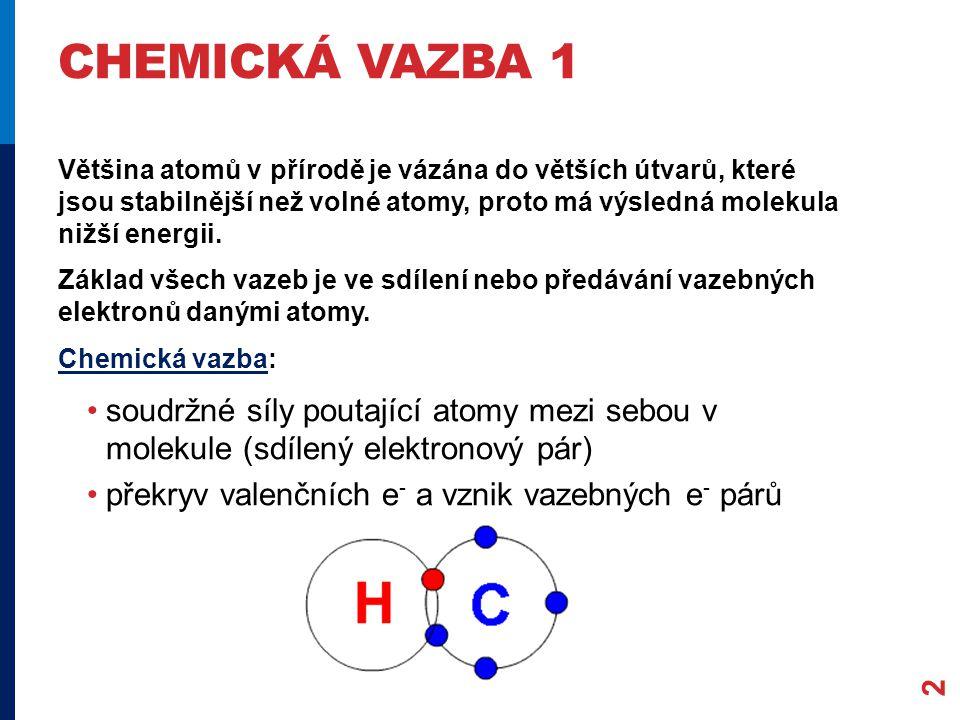 """CHEMICKÁ VAZBA 2 3 Podmínky vzniku vazby: """"srážka – přiblížení atomů s dostatečnou E tak, aby se překryly valenční orbitaly vhodné prostorové uspořádání, aby mohly vzniknout vazebné páry"""