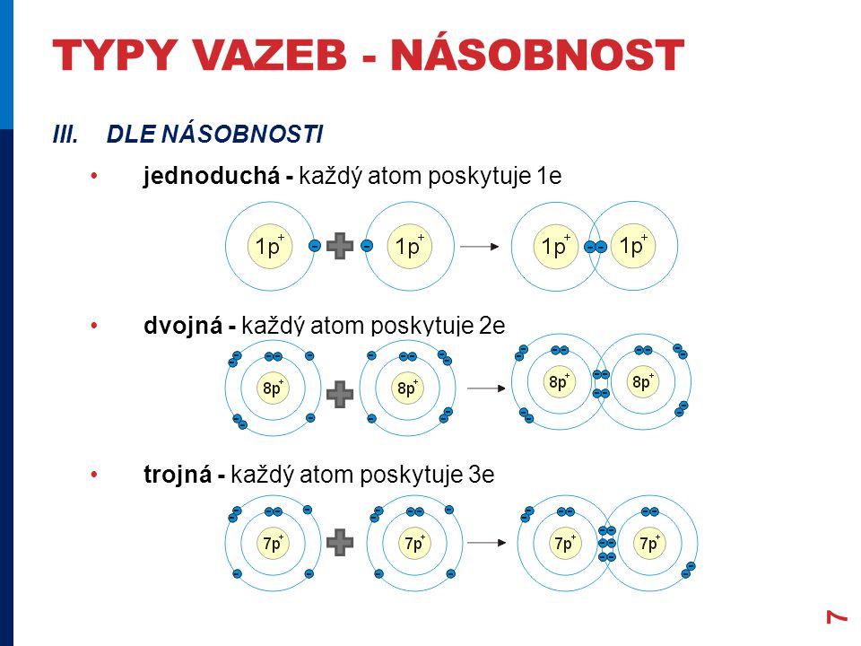 TYPY VAZEB - NÁSOBNOST 7 III.DLE NÁSOBNOSTI jednoduchá - každý atom poskytuje 1e dvojná - každý atom poskytuje 2e trojná - každý atom poskytuje 3e