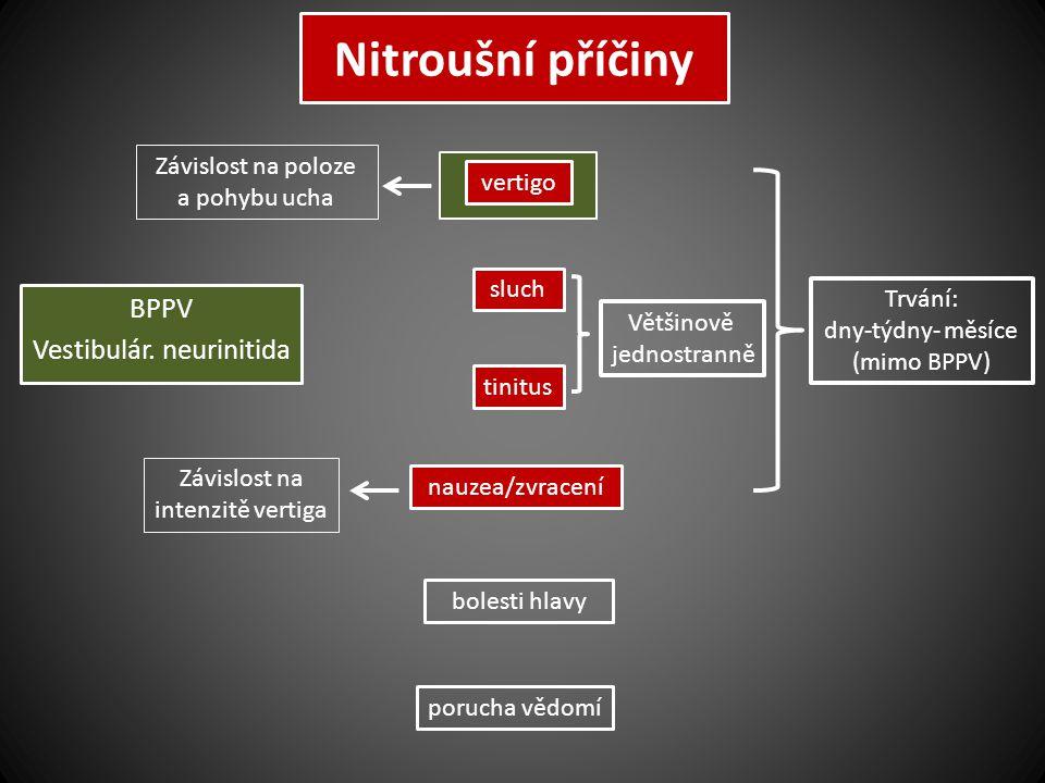 Nitroušní příčiny BPPV Vestibulár. neurinitida sluch vertigo tinitus bolesti hlavy porucha vědomí nauzea/zvracení Trvání: dny-týdny- měsíce (mimo BPPV