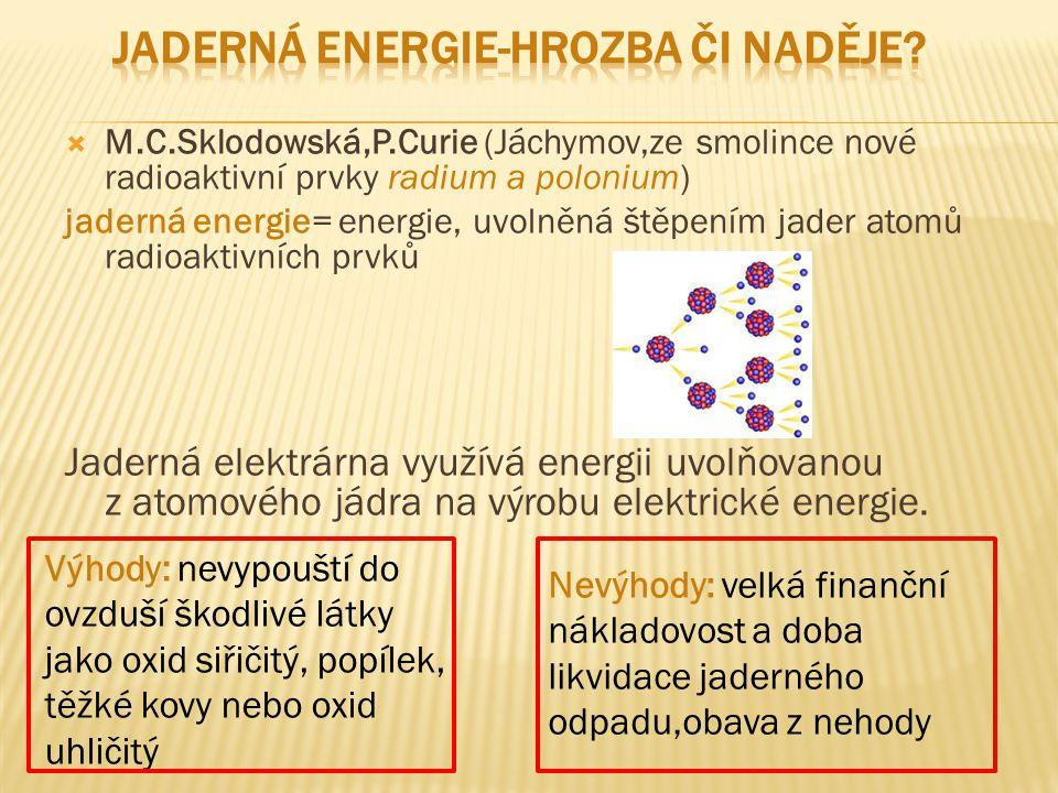  M.C.Sklodowská,P.Curie (Jáchymov,ze smolince nové radioaktivní prvky radium a polonium) jaderná energie= energie, uvolněná štěpením jader atomů radi