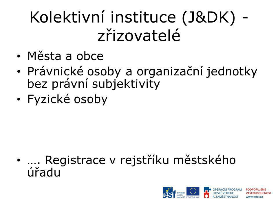 Kolektivní instituce (J&DK) - zřizovatelé Města a obce Právnické osoby a organizační jednotky bez právní subjektivity Fyzické osoby …. Registrace v re