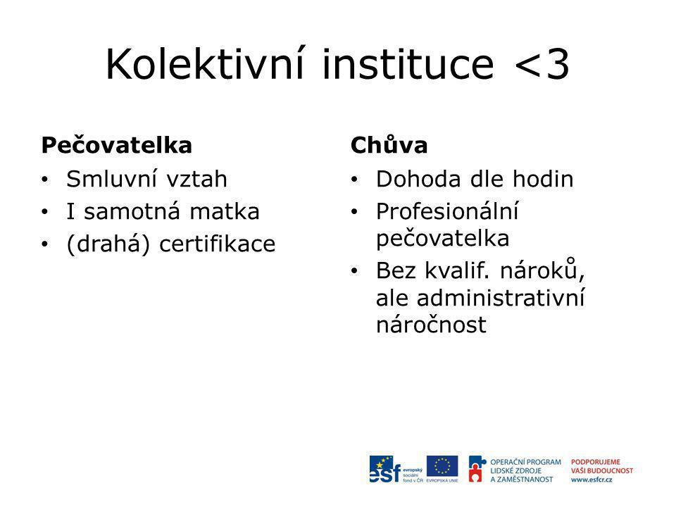 Kolektivní instituce <3 Pečovatelka Smluvní vztah I samotná matka (drahá) certifikace Chůva Dohoda dle hodin Profesionální pečovatelka Bez kvalif. nár