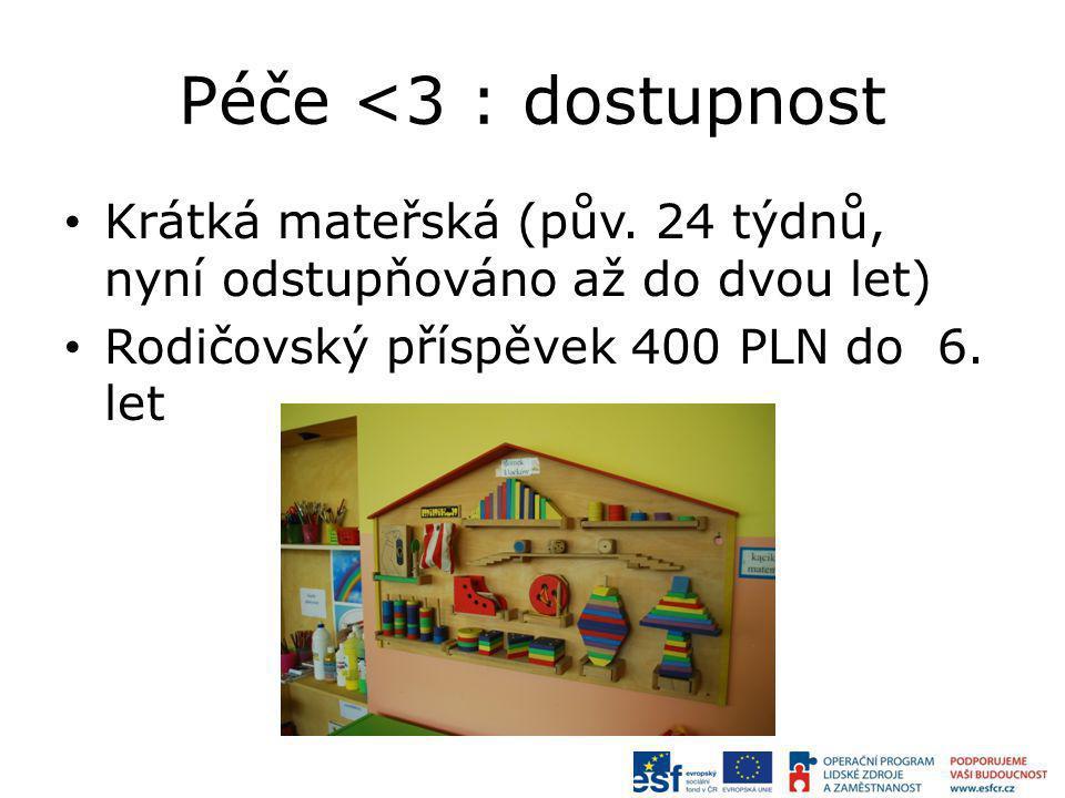 Péče <3 : dostupnost Krátká mateřská (pův. 24 týdnů, nyní odstupňováno až do dvou let) Rodičovský příspěvek 400 PLN do 6. let