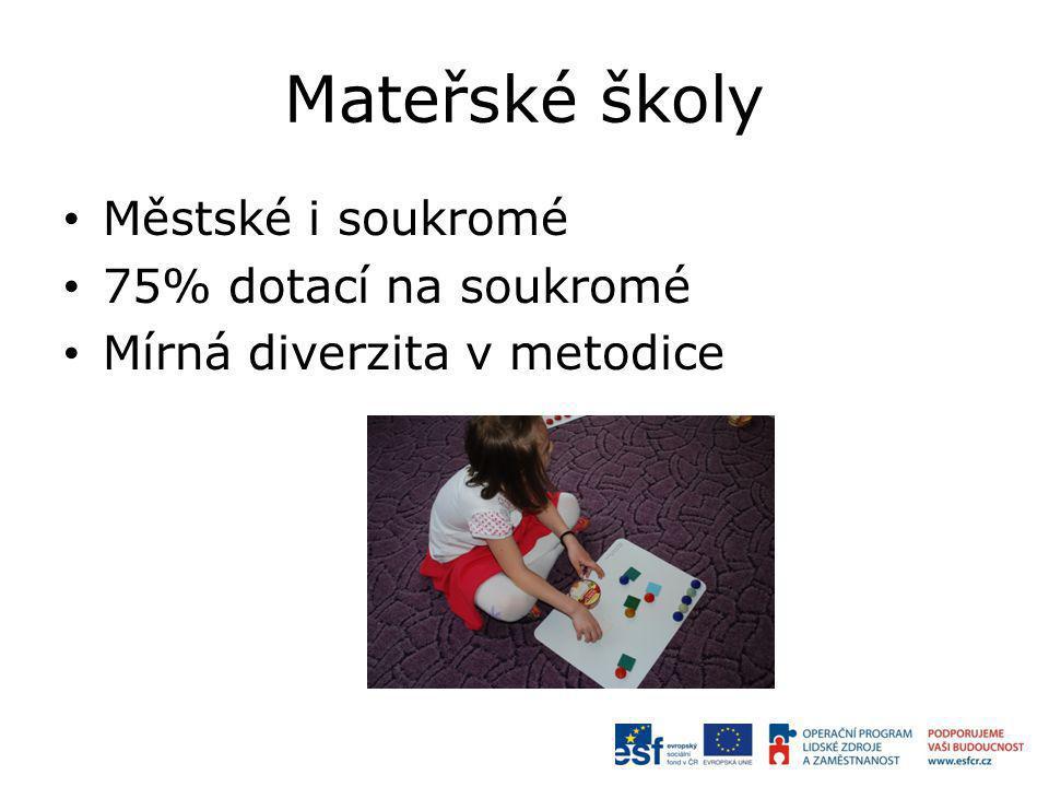 Mateřské školy Městské i soukromé 75% dotací na soukromé Mírná diverzita v metodice