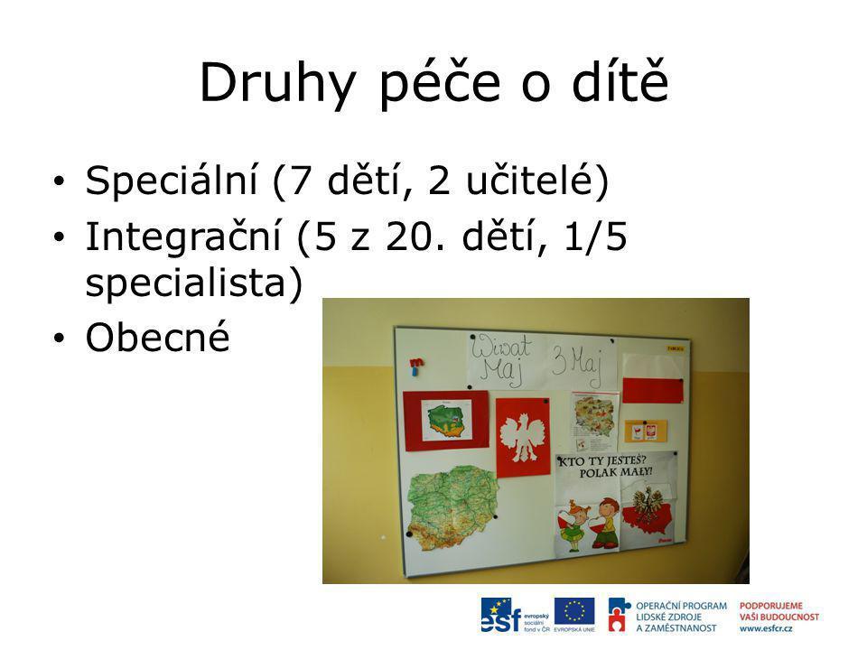 Druhy péče o dítě Speciální (7 dětí, 2 učitelé) Integrační (5 z 20. dětí, 1/5 specialista) Obecné