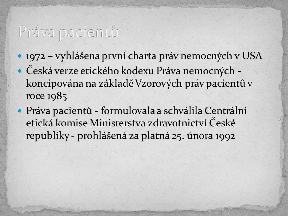 1972 – vyhlášena první charta práv nemocných v USA Česká verze etického kodexu Práva nemocných - koncipována na základě Vzorových práv pacientů v roce 1985 Práva pacientů - formulovala a schválila Centrální etická komise Ministerstva zdravotnictví České republiky - prohlášená za platná 25.