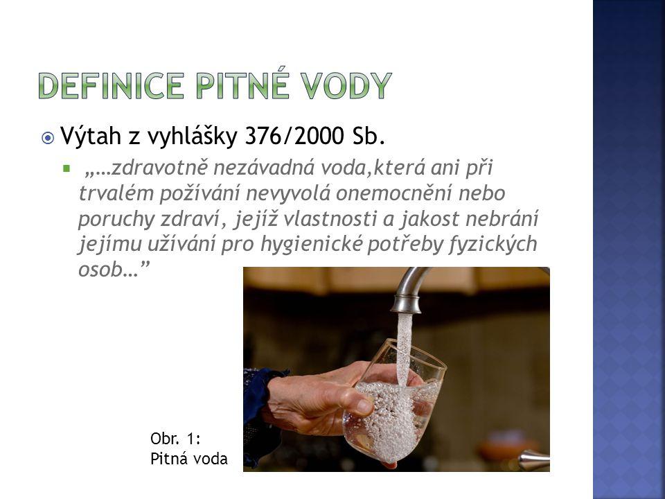 """ Výtah z vyhlášky 376/2000 Sb.  """"…zdravotně nezávadná voda,která ani při trvalém požívání nevyvolá onemocnění nebo poruchy zdraví, jejíž vlastnosti"""