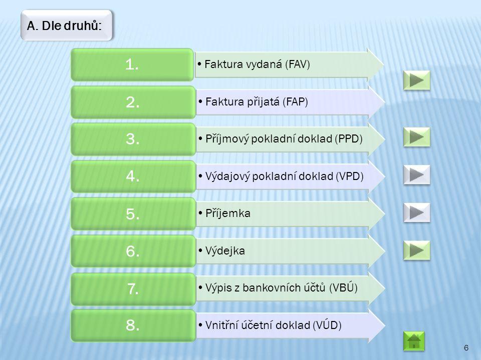 6 Faktura vydaná (FAV) 1. Faktura přijatá (FAP) 2. Příjmový pokladní doklad (PPD) 3. Výdajový pokladní doklad (VPD) 4. Příjemka 5. Výdejka 6. Výpis z