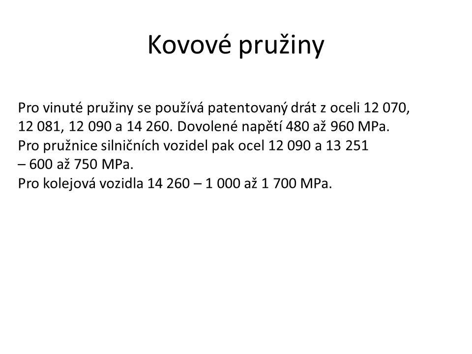 Kovové pružiny Pro vinuté pružiny se používá patentovaný drát z oceli 12 070, 12 081, 12 090 a 14 260. Dovolené napětí 480 až 960 MPa. Pro pružnice si