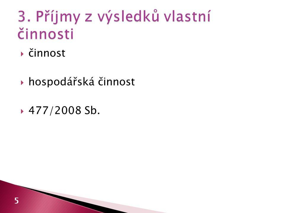  činnost  hospodářská činnost  477/2008 Sb. 5
