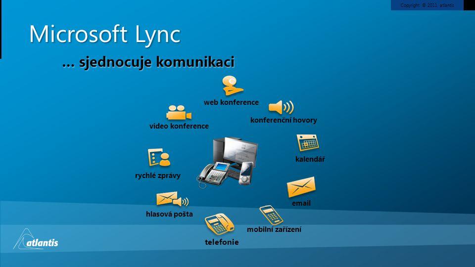 Copyright © 2011, atlantis Microsoft Lync video konference rychlé zprávy hlasová pošta konferenční hovory kalendář email mobilní zařízení telefonie web konference … přístupný každému Unified Communication