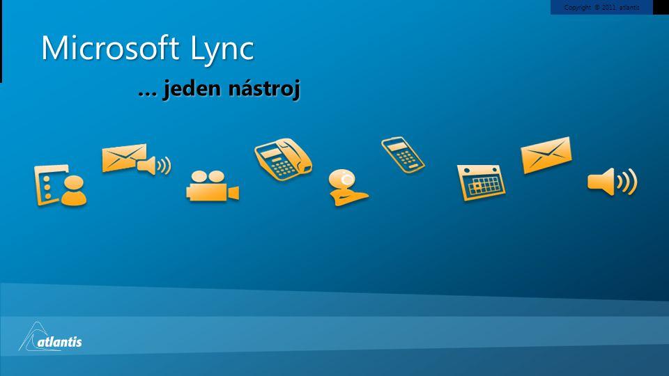 Copyright © 2011, atlantis Microsoft Lync Identita uživatele Jednotná správa Společný dohled … jeden nástroj