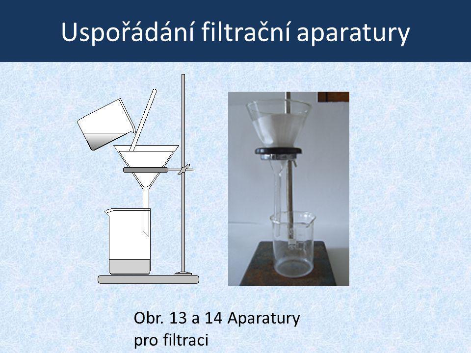 Uspořádání filtrační aparatury Obr. 13 a 14 Aparatury pro filtraci
