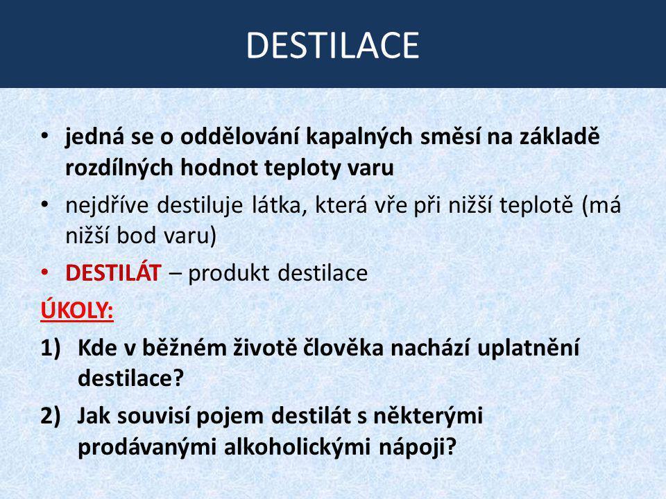 DESTILACE jedná se o oddělování kapalných směsí na základě rozdílných hodnot teploty varu nejdříve destiluje látka, která vře při nižší teplotě (má ni