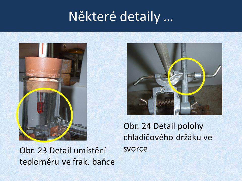 Některé detaily … Obr. 23 Detail umístění teploměru ve frak. baňce Obr. 24 Detail polohy chladičového držáku ve svorce