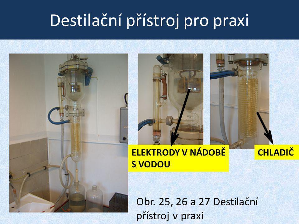 Destilační přístroj pro praxi Obr. 25, 26 a 27 Destilační přístroj v praxi CHLADIČELEKTRODY V NÁDOBĚ S VODOU