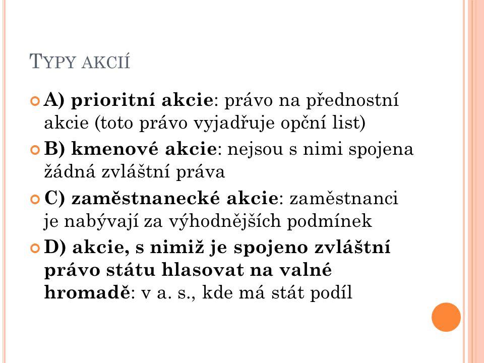 T YPY AKCIÍ A) prioritní akcie : právo na přednostní akcie (toto právo vyjadřuje opční list) B) kmenové akcie : nejsou s nimi spojena žádná zvláštní p