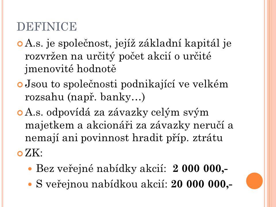 D EFINICE Dodatek v názvu: akciová společnost akc. spol. a. s.