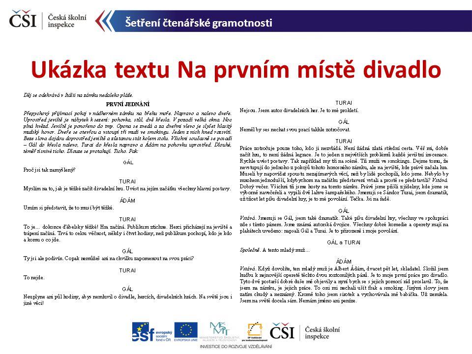 Ukázka textu Na prvním místě divadlo Šetření čtenářské gramotnosti