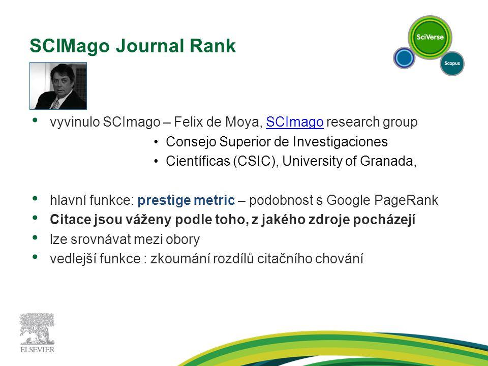SCIMago Journal Rank vyvinulo SCImago – Felix de Moya, SCImago research groupSCImago Consejo Superior de Investigaciones Científicas (CSIC), University of Granada, hlavní funkce: prestige metric – podobnost s Google PageRank Citace jsou váženy podle toho, z jakého zdroje pocházejí lze srovnávat mezi obory vedlejší funkce : zkoumání rozdílů citačního chování