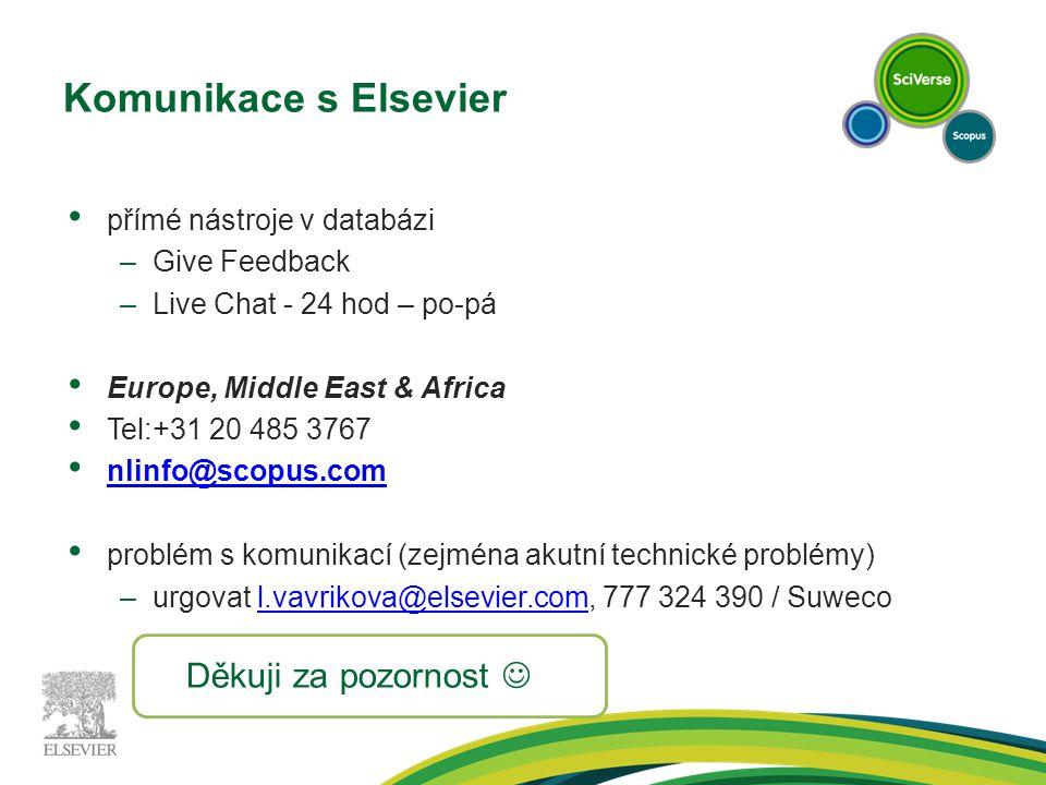 Komunikace s Elsevier přímé nástroje v databázi –Give Feedback –Live Chat - 24 hod – po-pá Europe, Middle East & Africa Tel:+31 20 485 3767 nlinfo@scopus.com problém s komunikací (zejména akutní technické problémy) –urgovat l.vavrikova@elsevier.com, 777 324 390 / Suwecol.vavrikova@elsevier.com Děkuji za pozornost