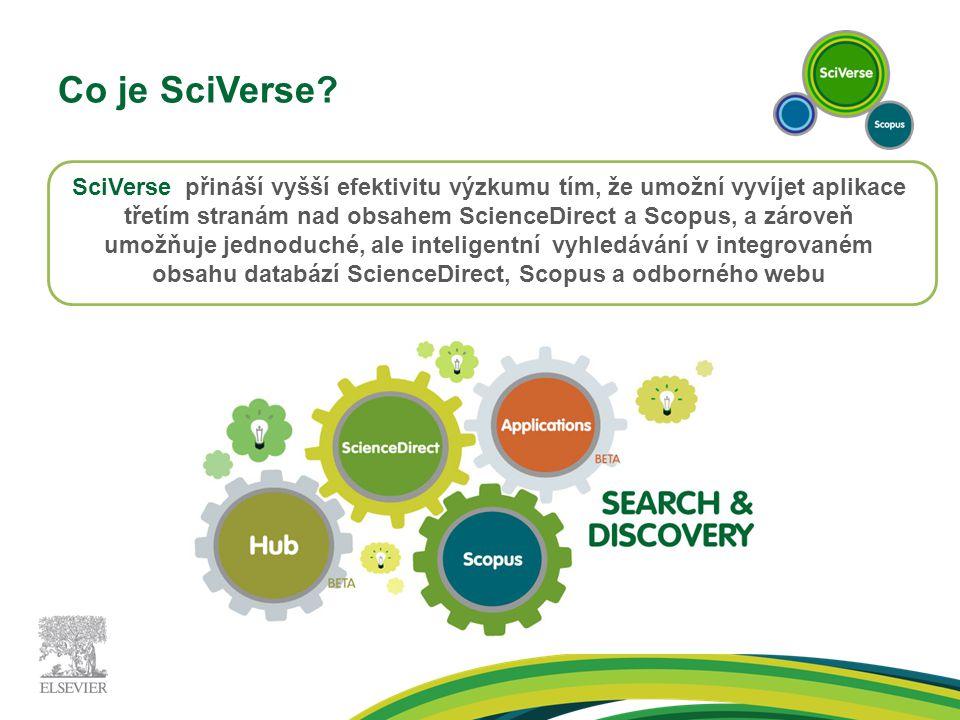 Co je SciVerse? SciVerse přináší vyšší efektivitu výzkumu tím, že umožní vyvíjet aplikace třetím stranám nad obsahem ScienceDirect a Scopus, a zároveň