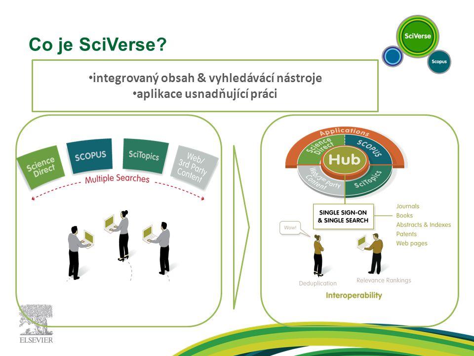 Co je SciVerse? integrovaný obsah & vyhledávácí nástroje aplikace usnadňující práci