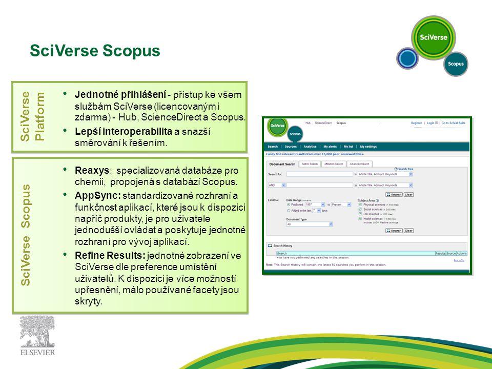 SciVerse Scopus SciVerse Platform SciVerse Scopus Jednotné přihlášení - přístup ke všem službám SciVerse (licencovaným i zdarma) - Hub, ScienceDirect