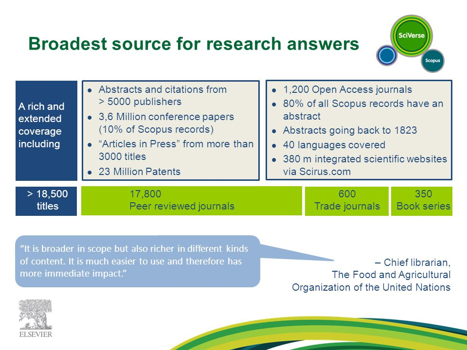 Broadest source for research answers 17,800 Peer reviewed journals 600 Trade journals 350 Book series A rich and extended coverage including Abstracts and citations from > 5000 publishers 3,6 Million conference papers (10% of Scopus records) Articles in Press from more than 3000 titles 23 Million Patents 1,200 Open Access journals 80% of all Scopus records have an abstract Abstracts going back to 1823 40 languages covered 380 m integrated scientific websites via Scirus.com – Chief librarian, The Food and Agricultural Organization of the United Nations > 18,500 titles It is broader in scope but also richer in different kinds of content.