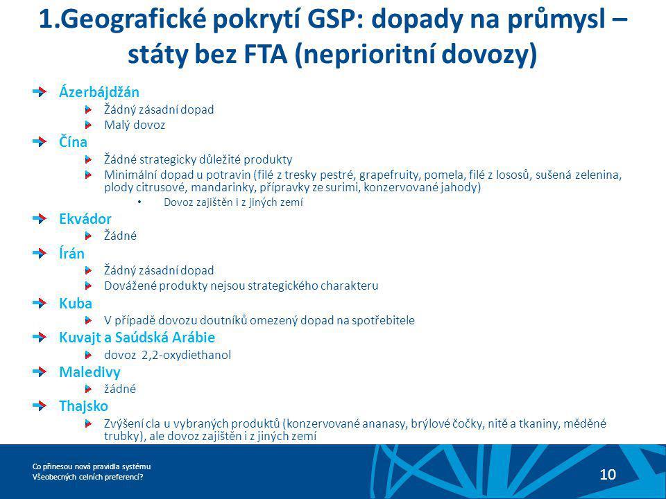Co přinesou nová pravidla systému Všeobecných celních preferencí? 10 1.Geografické pokrytí GSP: dopady na průmysl – státy bez FTA (neprioritní dovozy)