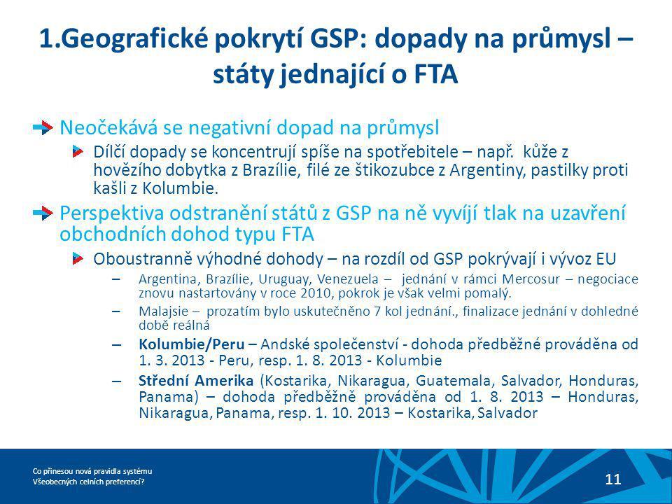 Co přinesou nová pravidla systému Všeobecných celních preferencí? 11 1.Geografické pokrytí GSP: dopady na průmysl – státy jednající o FTA Neočekává se