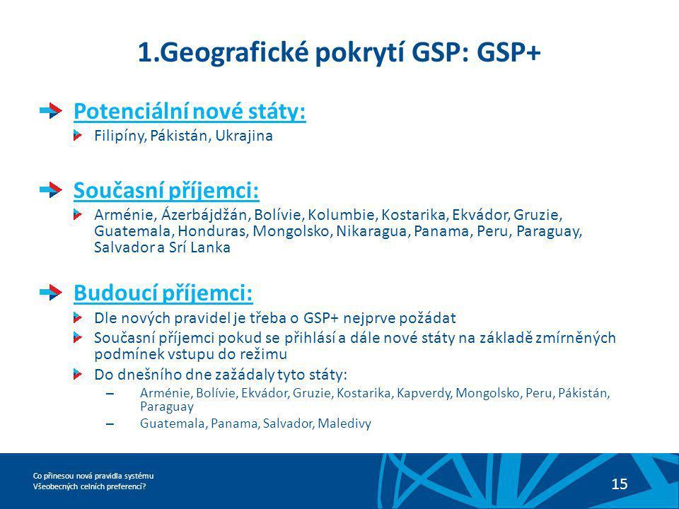 Co přinesou nová pravidla systému Všeobecných celních preferencí? 15 1.Geografické pokrytí GSP: GSP+ Potenciální nové státy: Filipíny, Pákistán, Ukraj