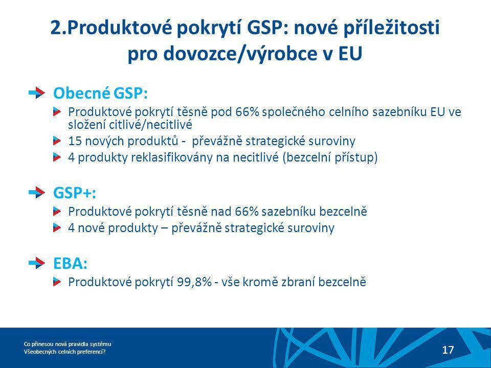 Co přinesou nová pravidla systému Všeobecných celních preferencí? 17 2.Produktové pokrytí GSP: nové příležitosti pro dovozce/výrobce v EU Obecné GSP:
