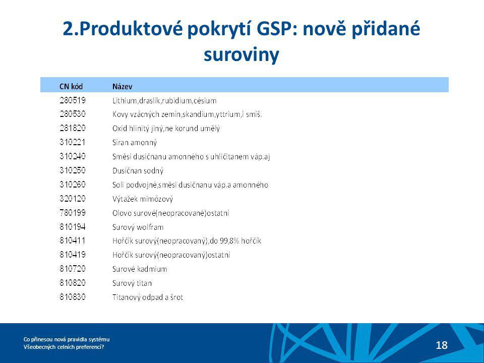 Co přinesou nová pravidla systému Všeobecných celních preferencí? 18 2.Produktové pokrytí GSP: nově přidané suroviny